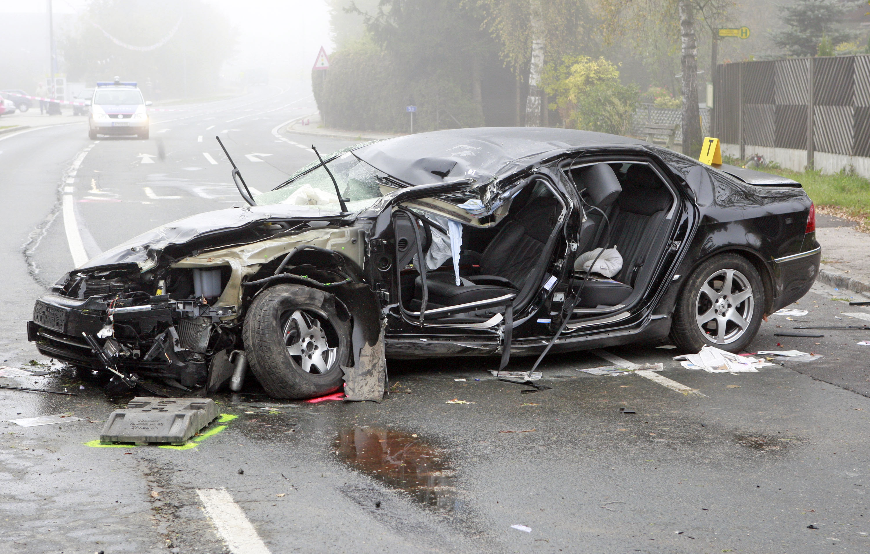 LAMBICHL, AUSTRIA - OCTOBER 11:  The wreckage of the car driven by Austrian far-right leader Joerg Haider in which he died during a road traffic accident early October 11, 2008 in Lambichl, south of Klagenfurt, Austria. 58-year-old Haider, was at the wheel as his vehicle as it came off the road after over taking another near Klagenfurt.  (Photo by Gert Eggenberger/Getty Images)