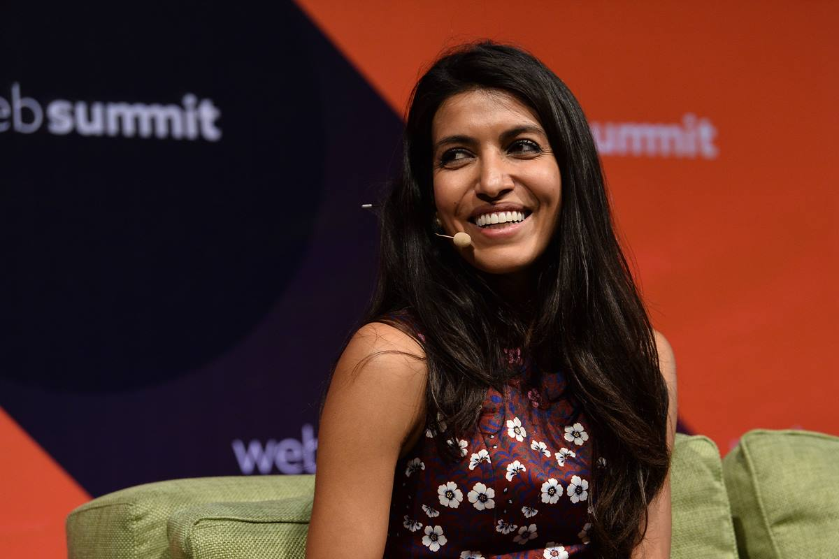 9 November 2017; Leila Janah, Founder and CEO, Samasource and LXMI, on the Future Societies Stage during day three of Web Summit 2017 at Altice Arena in Lisbon. Photo by Diarmuid Greene/Web Summit via Sportsfile